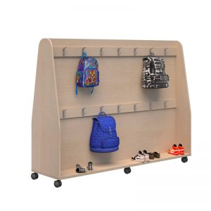 Mobile Bag storage in wood colour with bags