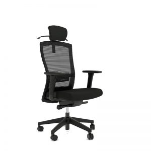black mesh chair with headrest