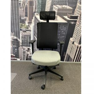 xtrans chair with black mesh back, grey seat